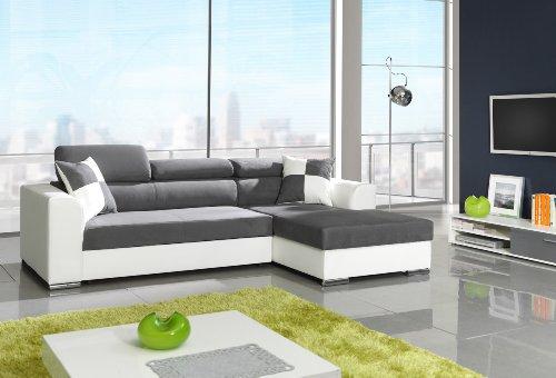 ecksofa lavello 210x210 cm weiss grau sofa hocker. Black Bedroom Furniture Sets. Home Design Ideas