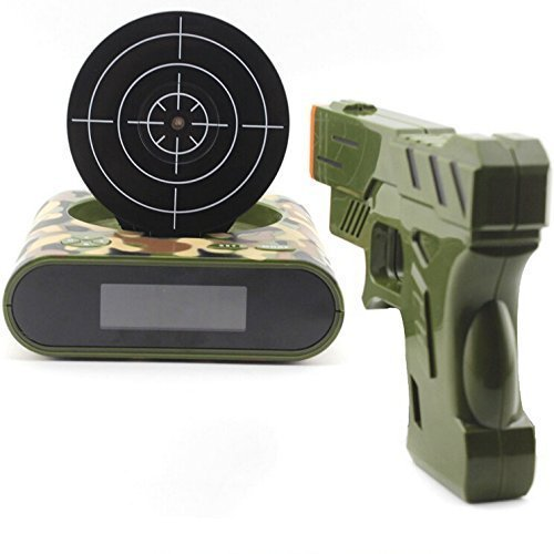 Premium and Funny Target Alarm Clock With Plastic Gun, Infrared Laser and Realistic Sound Effects-Camouflage (Target Practice Alarm compare prices)