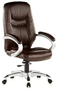 HJH OFFICE 668100 Bürostuhl / Chefsessel Triton 100 PU, braun /silber
