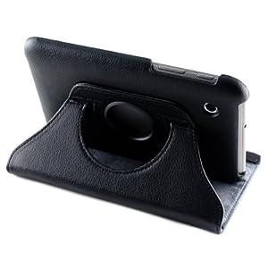 kwmobile® 360° Premium KUNSTLEDERTASCHE für Samsung Galaxy Tab 2 7.0 P3110 / P3100 / P3113 in Schwarz mit praktischer Ständerfunktion und Auto Sleep / Wake Up Funktion
