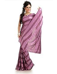Designersareez Women Chiffon Jacquard Printed Thulian Pink Saree With Unstitched Blouse(975)