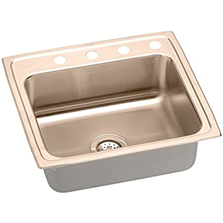 Elkao|#Elkay LRAD2219451-CU 18 Gauge Cuverro Antimicrobial copper 22 Inch x 19.5 Inch x 4.5 Inch single Bowl Top Mount Sink 1 Hole,