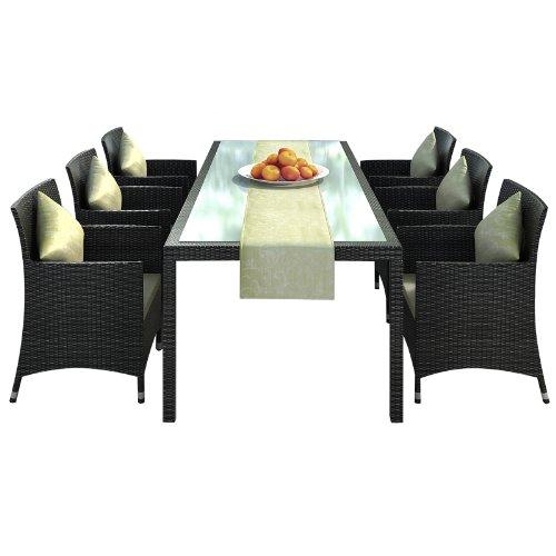 Gartenmbel-Rattan-Essgruppe-Set-Nizza-braun-in-Aluminium-Rostfrei-Tisch-2-m-Sthle-Tischlufer
