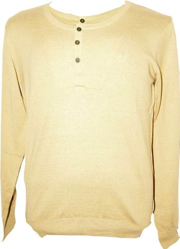 NEW MENS FIRETRAP SLIM FIT LIGHT KNIT TAN JUMPER - MEDIUM FT4