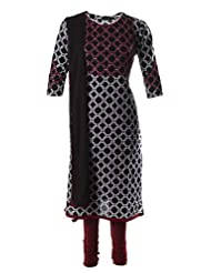 Navy Blue Printed Fine Cotton Enhanced With Red Pani Sequinned Salwar Suit