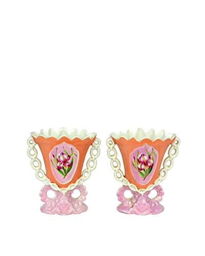 Uptown Down Previously Owned Set of 2 Pink Floral Ceramic Vases As You See