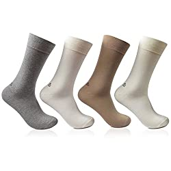 Bonjour Odour free plain Socks for Men with Bonjour logo Pack of 4 Pairs_BRO201B-PO4