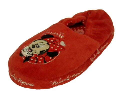 Girls Disney Minnie Mouse Red Velour Slippers Size 12 Infant Kids Style 024