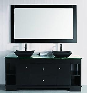 Design element oasis double sink vanity set with built in for Design element marcos solid wood double sink bathroom vanity
