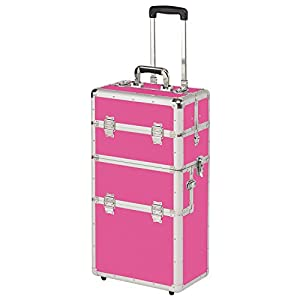 Alu Trolley abnehmbarer Koffer Alukoffer Pilotenkoffer in Pink variable Fächer