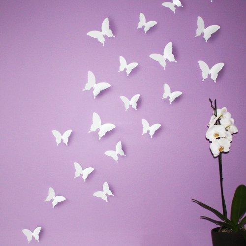 Wandkings 3D-10723 Schmetterlinge im 3D-Style, 12-Stück, Wanddekoration mit Klebepunkten zur Fixierung, weiß