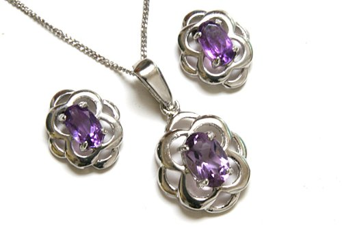 9ct White Gold Celtic Amethyst Pendant and Earring set