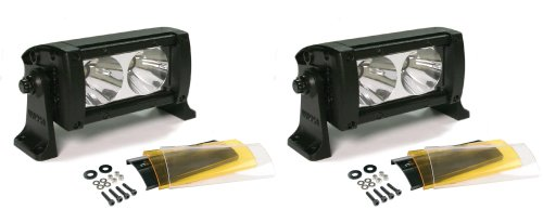 """Wurton Dual 5"""" 10W High-Power 2X2 Led Light Bars, Flood Beam, 3 Integrated Lens Covers (10-30V, Ip67, Ce)-Iso 9001 Certified"""