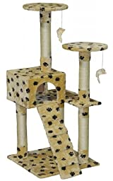 Go Pet Club Cat Tree Condo House Furniture, 52-Inch, Paw Print