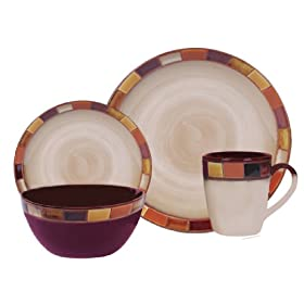 Gibson Casa Estebana 16-piece Dinnerware Set Service for 4 Beige and Brown