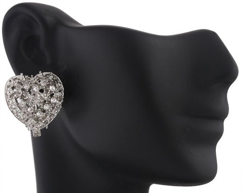 Ladies Silver with Clear Iced Out 3D Heart Style Clip On Stud Earrings