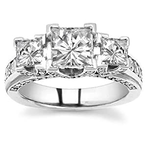 1.83 CARATS PRINCESS CUT THREE STONE DIAMOND ENGAGEMENT RING ON 14K SOLID WHITE GOLD