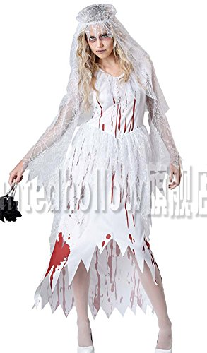 Shineflow Women's bloody Bride Of Chucky Costume for Halloween Cosplay