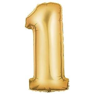 "Amazon.com: 40"" Metallic Gold Number 1 Balloon: Toys & Games"