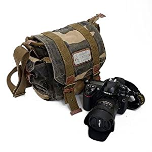 Yitao Deal Canvas Dslr SLR Camera Shoulder Bag Backpack Rucksack Bag for Sony Canon Nikon Olympus--camouflage Color:23cm X 23cm X 12cm