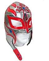 Rey Mysterio Adult Lucha Libre Wrestling Mask (pro-fit) Costume- Silver/Red
