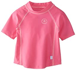 i play. Toddler Short Sleeve Rashguard Shirt, Hot Pink, 3T