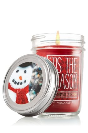 Bath & Body Works Holiday Traditions 'TIS THE SEASON scented Mason Jar Candle Snowday 2013 6 oz