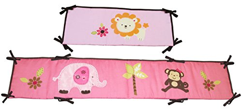 Little Bedding Jungle Traditional Padded Bumper, Raspberry