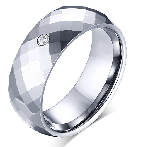 [8mm Classic Diamond Faceted Polished Tungsten Carbide Wedding Band Rings For Men Beveled Edge] (Horse Costume Class)
