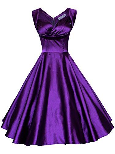 Maggie Tang Women's 1950's 60s Solid Color Vintage Garden Dress L Deep Purple