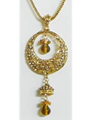 Yellow Stone Studded Pendant With Chain - Stone And Metal