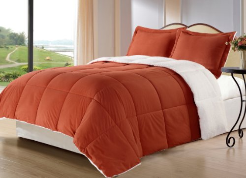 Cozy Beddings 3-Piece Down Alternative Mini Comforter Set With Pillow Case, Borrego Sherpa And Berber Throw Blanket, King, Burnt Orange front-922721