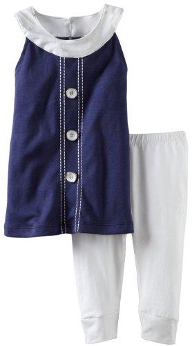 A.B.S. By Allen Schwartz Baby-Girls Infant Tiffany Shirt Set, Navy/White, 18 Months