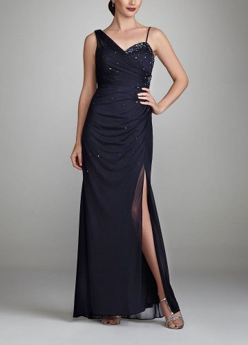 David's Bridal Long One Shoulder Beaded Jersey Dress Style XS874, Navy, 16