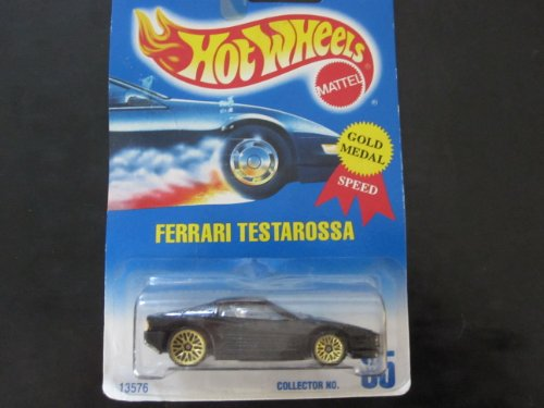 Ferrari Testarossa Hot Wheels #35 Black with Gold Wire Spoke Wheels Blue White Card