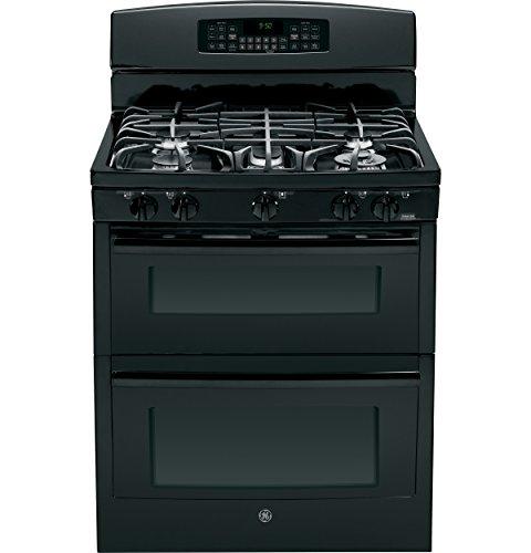 "Ge Pgb950Defbb Profile 30"" Black Gas Sealed Burner Double Oven Range - Convection"