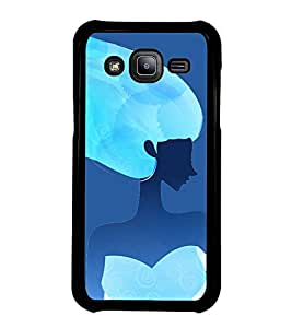 Fuson Premium 2D Back Case Cover Girl in Blue With white Background Degined For Samsung Galaxy J2::Samsung Galaxy J2 J200F