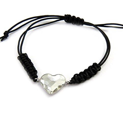 Silber-armband 'Love'schwarz weiß