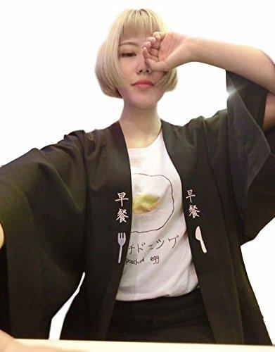 POJ Japanese happi coat [ One Size Color Black For Unisex ] Japan Anime Cosplay