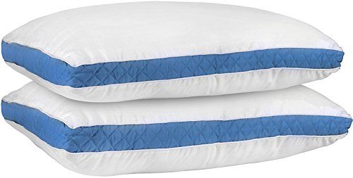 Utopia Bedding Gusseted Quilted Pillow (Standard/Queen 18 x 26 Inches, Blue) Set of 2 Premium Quality Bed Pillows Side Back Sleepers Blue Gusset (Blue, Queen)