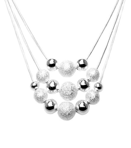 925 Sterling Silver Toned Evening Layered Bead Necklace