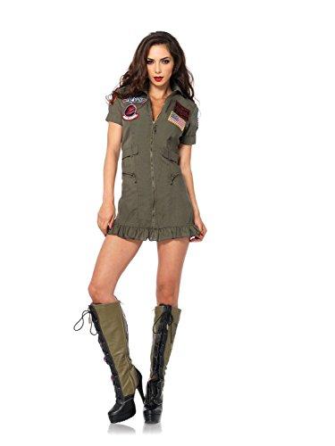 McDonalnd chic Women's Top Gun Flight Zipper Front Dress Costume Khaki/GreenSmall