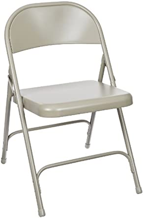National Public Seating 50 Series All Steel Standard Folding Chair with Double Brace, 480 lbs Capacity, Gray (Carton of 4)