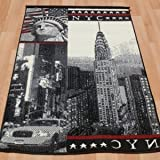 New York themed rug. 150x210cm, Empire State building, statue of liberty.