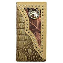 Royal West Horse Bi-fold Mens Long Wallet in Orstrich/croc Camo Black Beige Brown W011-5 (HORSE CROCODILE BEIGE CAMO)