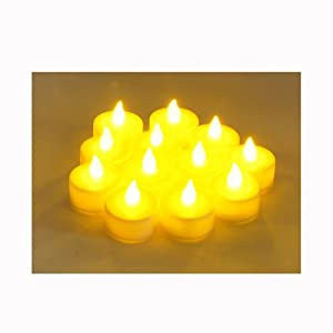 #!Cheap 12 Battery Operated AMBER LED Tealight Candles Flameless Heatless No Heat Candle Flickering Wickless Led Long Lasing Life Faux Wedding Holiday Christmas Thanksgiving Party Light Dozen