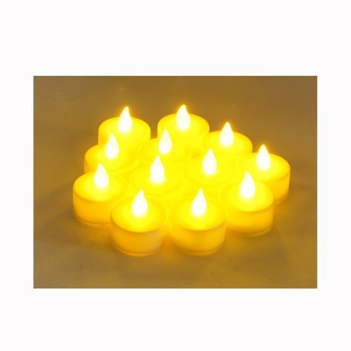 12 Battery Operated AMBER LED Tealight Candles