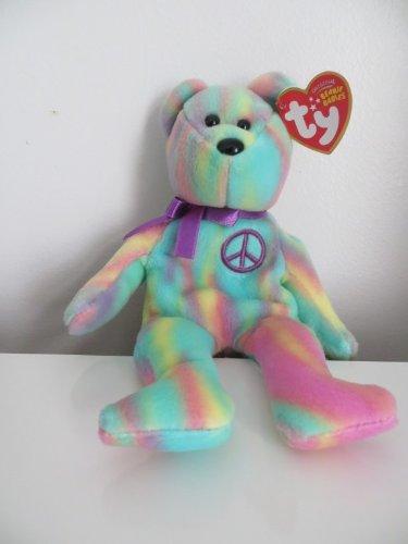 TY Tie Dye Beanie Baby PEACE BEAR