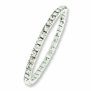 Silver-tone Clear Glass Stones Stretch Bracelet