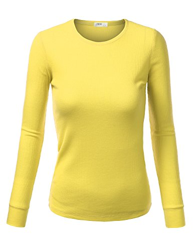 J.Tomson Womens Basic Long Sleeve Crewneck Thermal Shirt Lime Light Large